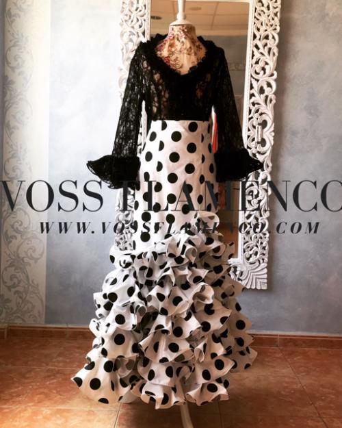 Falda rociera blanca lunar negro