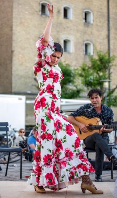 vestido espectaculo y ensayo flamenco