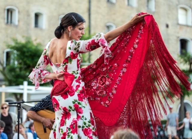 vestido espectáculo y ensayo flamenco