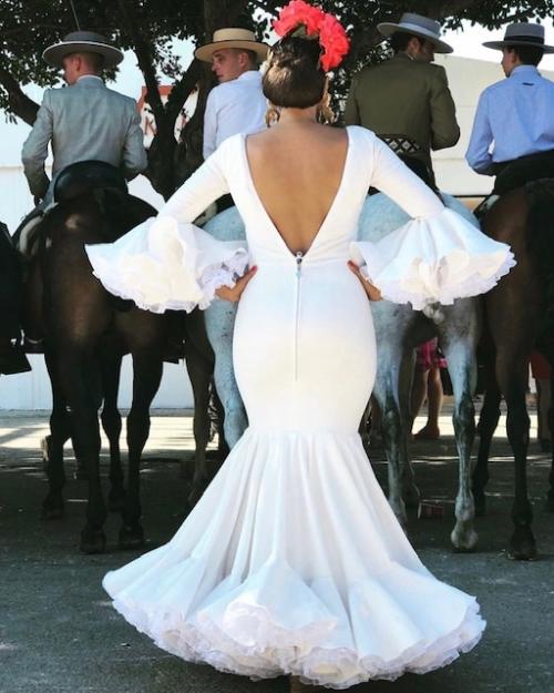 vestido flamenco señora blanco